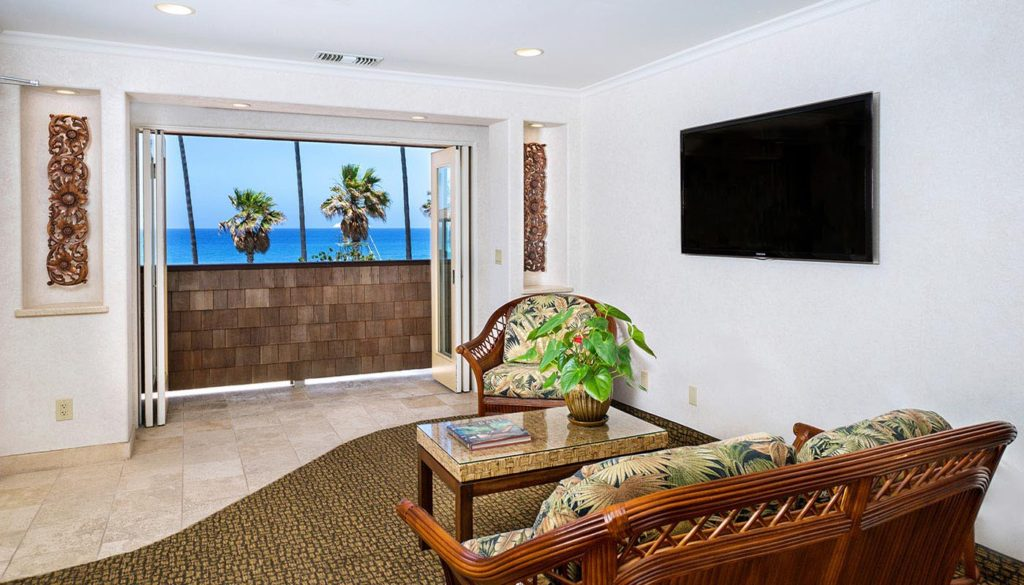 One Bedroom Partial Ocean View Cottage Living Room