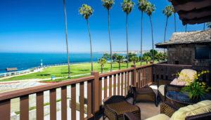 Pantai Inn balcony overlooking beach La Jolla near Concours d'Elegance