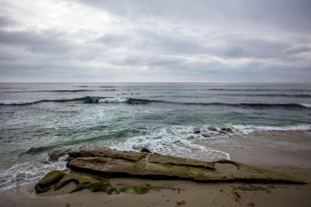 Beautiful view of waves rolling onto Windansea Beach